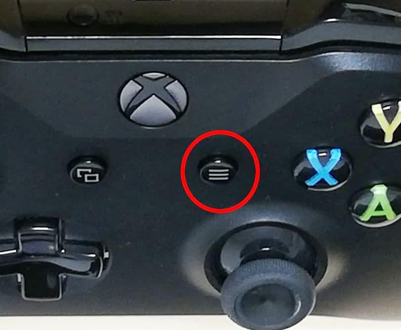 XboxOneコントローラー、8の位置のボタン